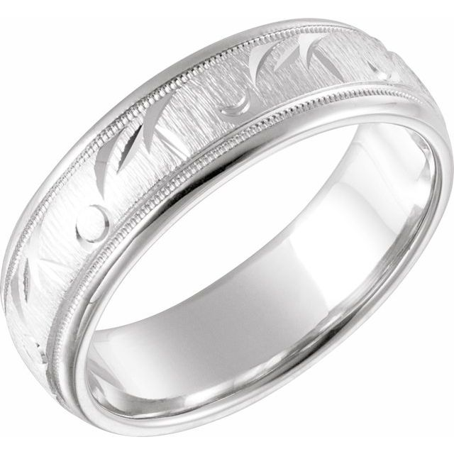 14K White 7 mm Carved Band with Milgrain Size 7