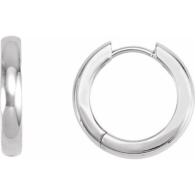 Platinum 17.5 mm Hinged Hoop Earrings