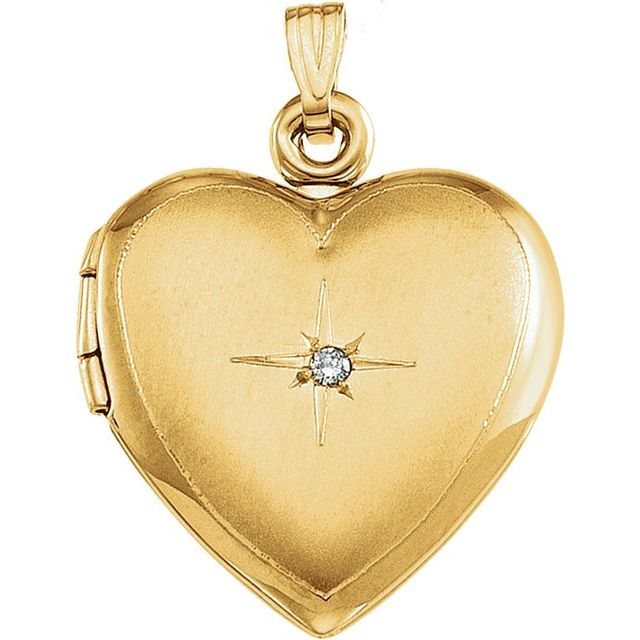 14K Yellow Diamond Accented Heart Locket