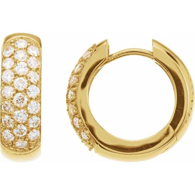 14K Yellow 7/8 CTW Diamond Pavé Hoop Earrings