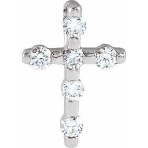 14K White .08 CTW Diamond Cross Pendant
