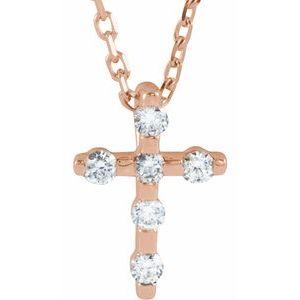 "14K Rose .08 CTW Diamond Cross 16-18"" Necklace"