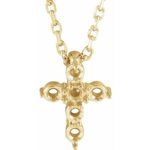 """14K Yellow 10.2x7.9 mm Cross 16-18"""" Necklace Mounting"""