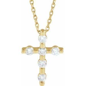 "14K Yellow 1/5 CTW Diamond Cross 16-18"" Necklace"