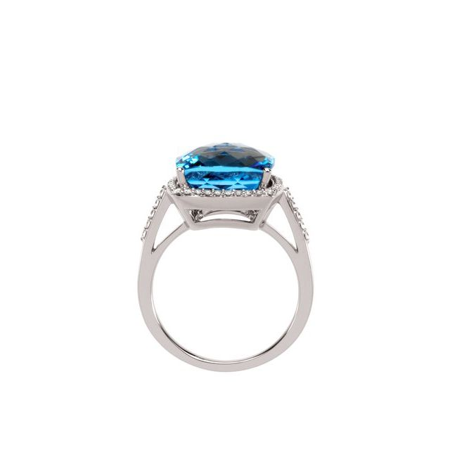 14K White Swiss Blue Topaz & 1/4 CTW Diamond Ring
