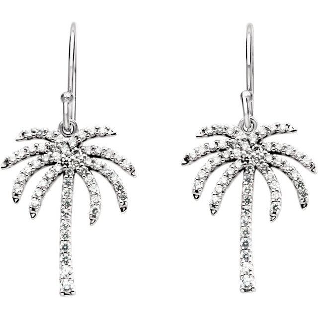 14K White 3/8 CTW Diamond Palm Tree Earrings