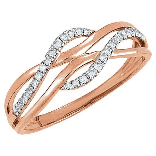 14K Rose with White Rhodium Plating 1/8 CTW Diamond Ring