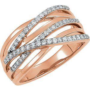 14K Rose Rhodium Plated 1/3 CTW Diamond Ring