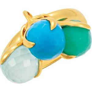 18K Yellow Vermeil Multi-Gemstone Ring Size 7