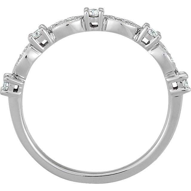 Platinum 1/5 CTW Diamond Granulated Stackable Ring Size 7