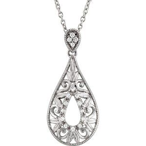 "Sterling Silver 1/10 CTW Diamond 18"" Necklace"