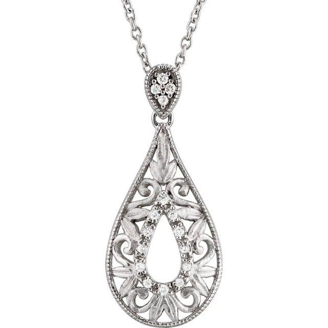 Sterling Silver 1/10 CTW Diamond 18