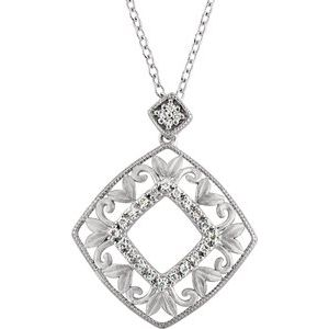 "Sterling Silver 1/6 CTW Diamond 18"" Necklace"