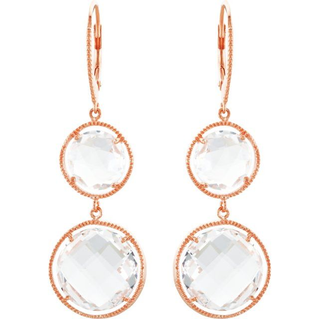 14K Rose Gold-Plated Sterling Silver Clear Quartz Earrings
