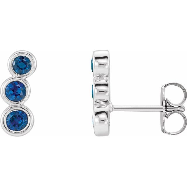 Sterling Silver Imitation Blue Sapphire Ear Climbers