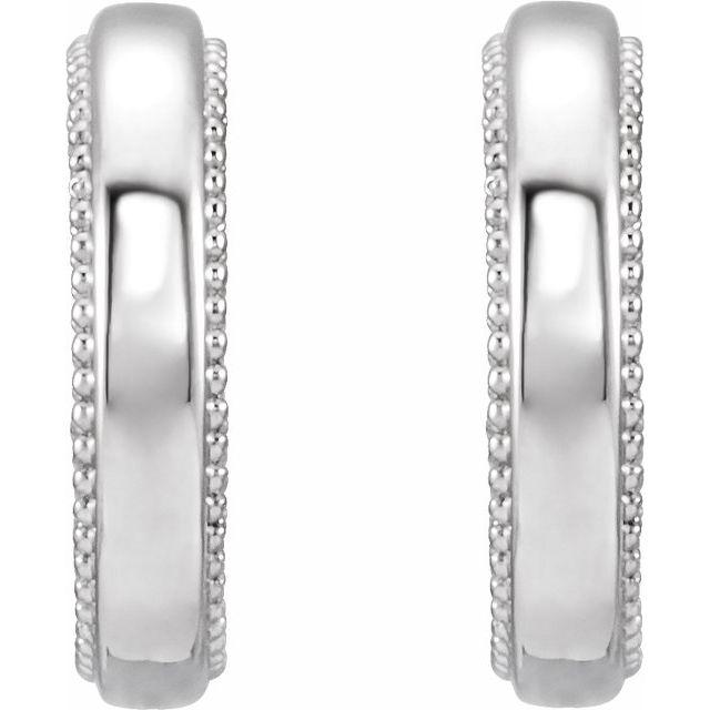 Sterling Silver Floral-Inspired Milgrain Hoop Earrings