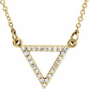 "14K Yellow 1/10 CTW Diamond Triangle 16"" Necklace"