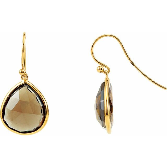14K Yellow Gold-Plated Sterling Silver Smoky Quartz Bezel-Set Earrings