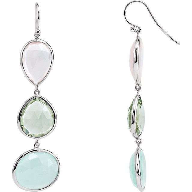 Rose Quartz, Green Quartz and Aqua Blue Chalcedony Earrings