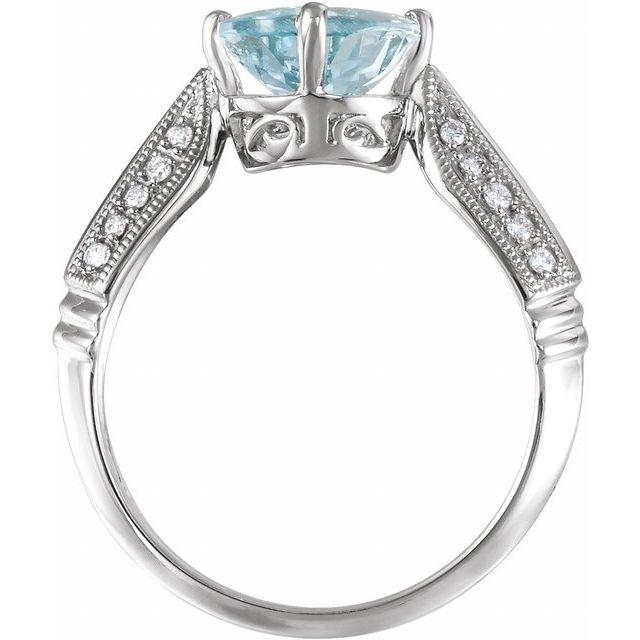 14K White Aquamarine & 1/8 CTW Diamond Ring