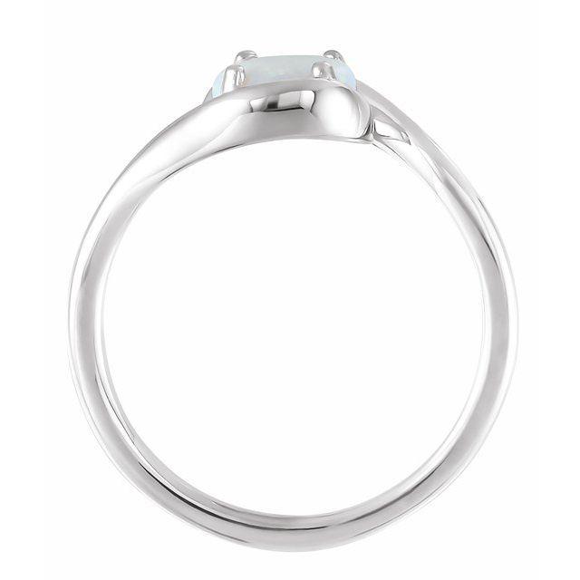 14K White Opal Bypass Ring