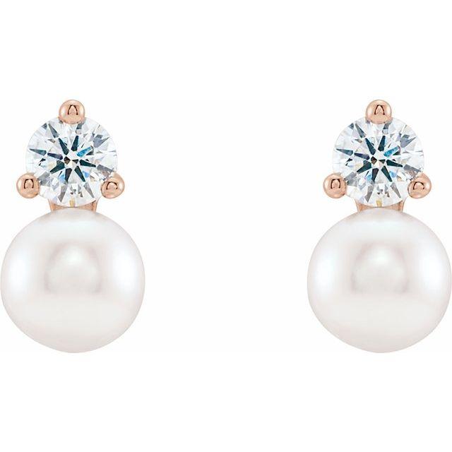 14K Rose Freshwater Cultured Pearl & 1/2 CTW Diamond Earrings