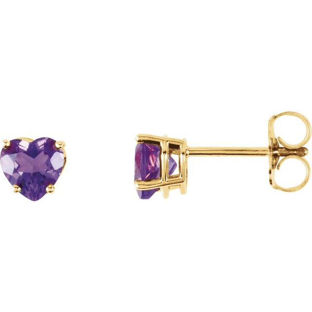 14K Yellow Amethyst Heart Earrings