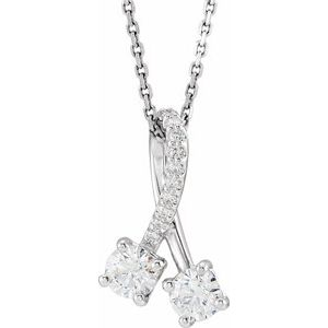 "14K White 1/2 CTW Diamond Freeform 16-18"" Necklace"