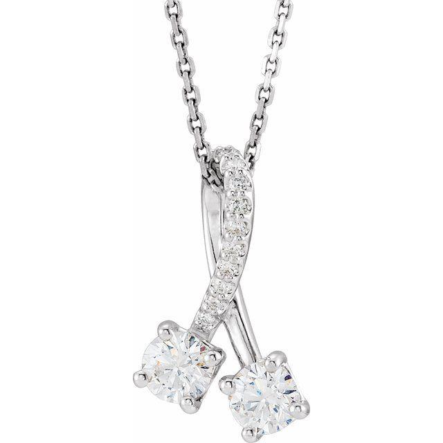 14K White 1/2 CTW Diamond Freeform 16-18