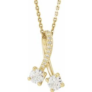 "14K Yellow .10 CTW Diamond Freeform 16-18"" Necklace"