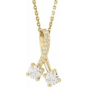 "14K Yellow .10 CTW Diamond Freeform 16-18"" Necklace"