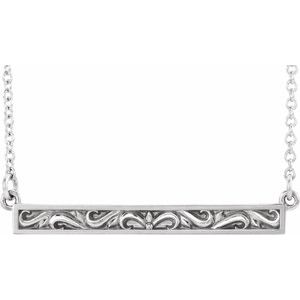 "14K White Sculptural-Inspired Bar 16-18"" Necklace"