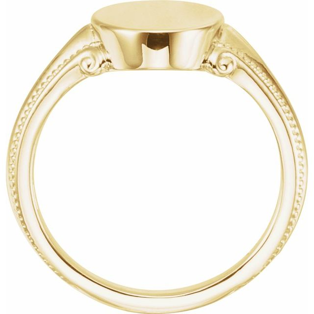 14K Yellow 13x9.65 mm Oval Signet Ring