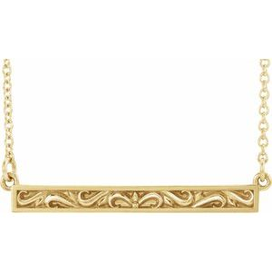 """14K Yellow Sculptural-Inspired Bar 16-18"""" Necklace"""