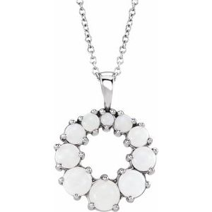 "14K White Opal Halo-Style 18"" Necklace"