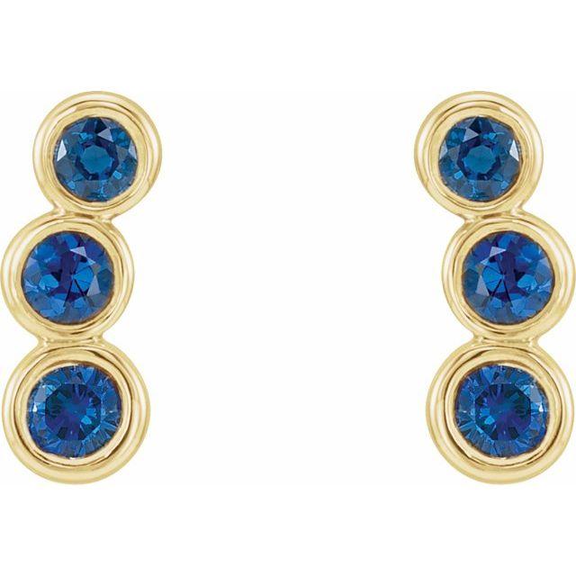 14K Yellow Blue Sapphire Ear Climbers