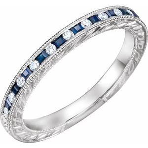 14K White Blue Sapphire & 1/8 CTW Diamond Anniversary Band