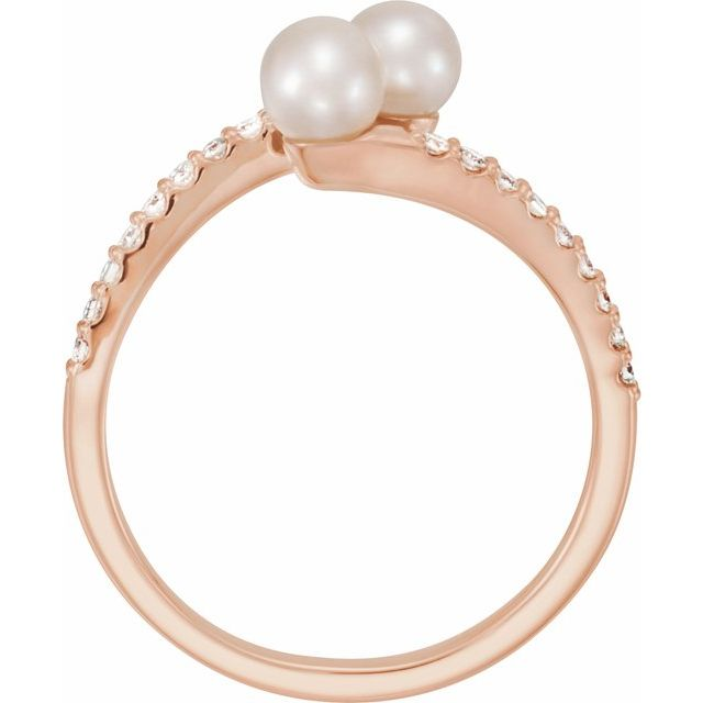14K Rose Cultured White Freshwater Pearl & 1/6 CTW Natural Diamond Bypass Ring
