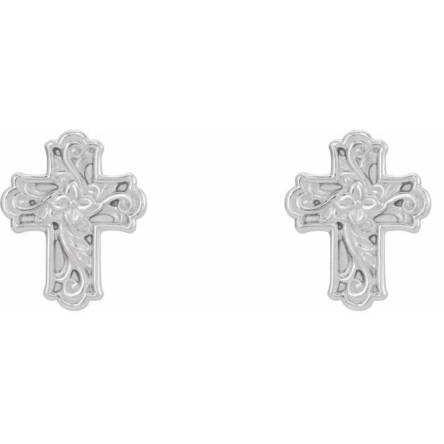 14K White Floral-Inspired Cross Earrings
