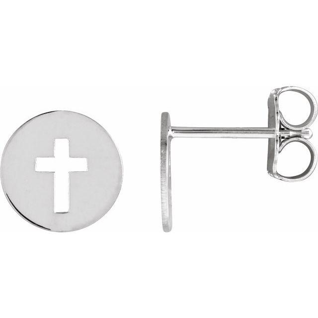 14K White 8 mm Pierced Cross Disc Earrings