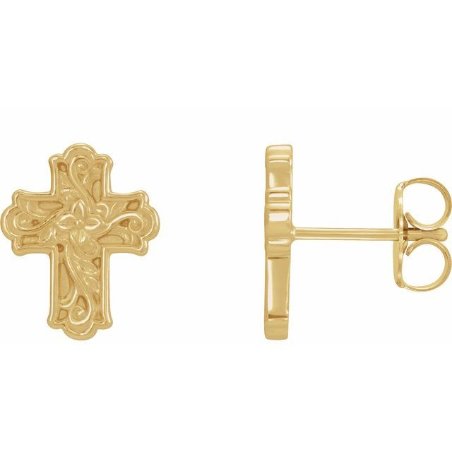 14K Yellow Floral-Inspired Cross Earrings