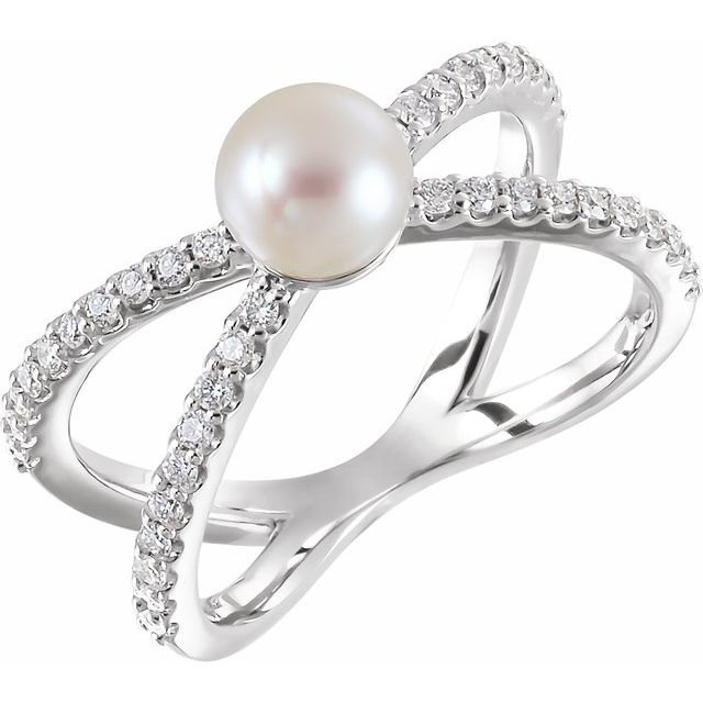 14K White Cultured White Freshwater Pearl & 1/3 CTW Natural Diamond Ring