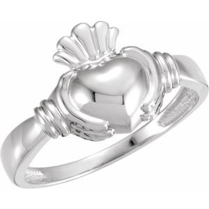 14K White Claddagh Ring Size 7