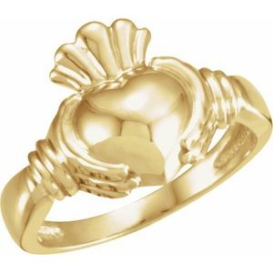14K Yellow Claddagh Ring Size 7