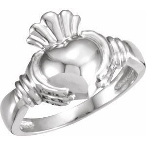 14K White Claddagh Ring Size 11