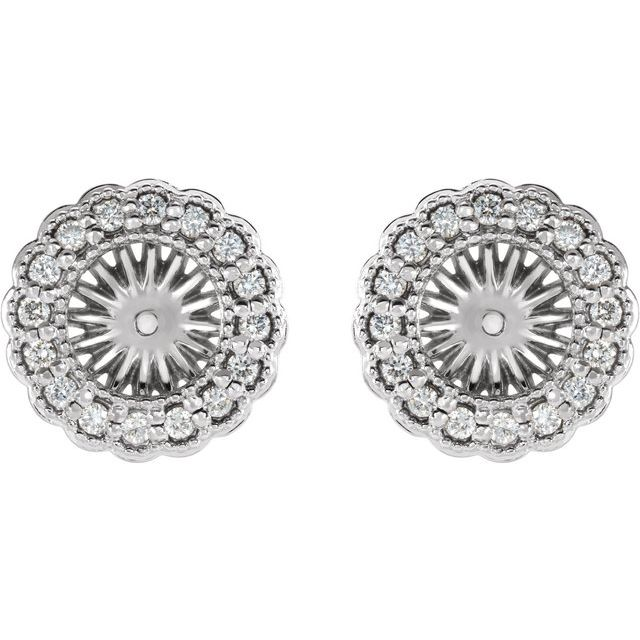 14K White 1/4 CTW Diamond Earring Jackets with 6 mm ID