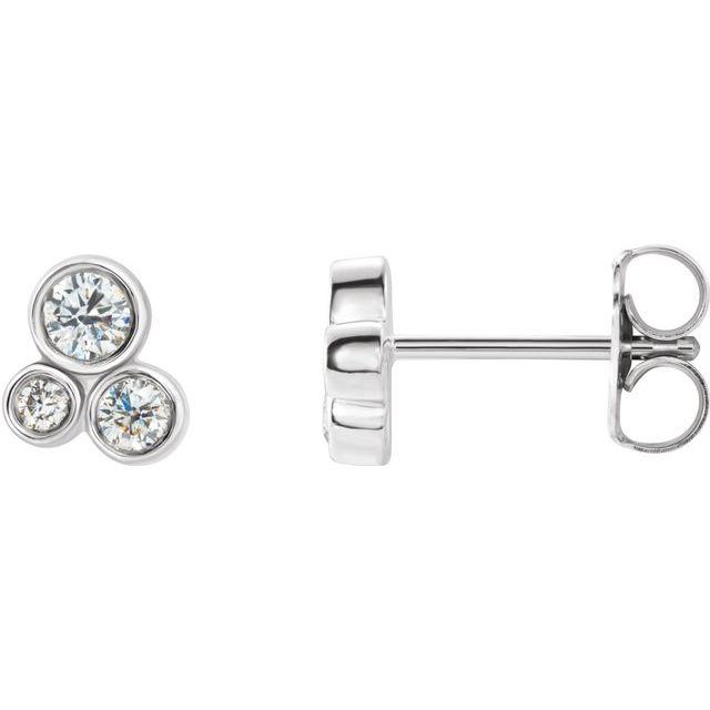 14K White 1/5 CTW Diamond Geometric Cluster Earrings