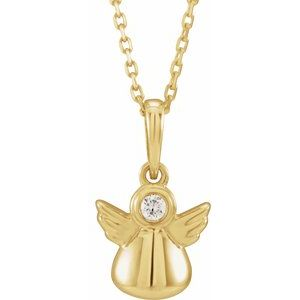 "14K Yellow .03 CT Diamond Youth Angel 15"" Necklace"