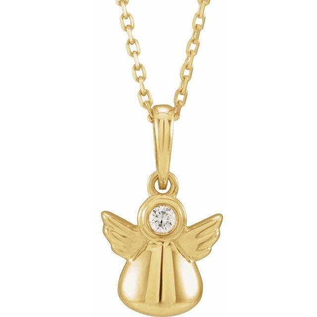 14K Yellow .03 CT Diamond Youth Angel 15
