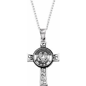 "Sterling Silver U.S. Army Cross 24"" Necklace"